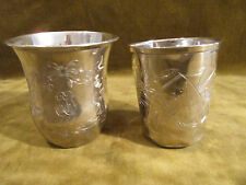 1900 french sterling silver 2 baby cups art nouveau st 66 & 52gr