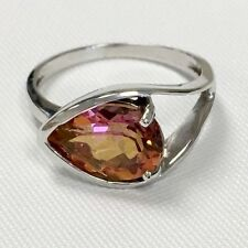 Gorgeous 21/2 CT Pear Shape Pink Tourmaline 10KWG Size 7 Ring