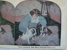 """NOW CHILDREN YOU MUST KISS & MAKE UP"" GIRL PUPPIES COLOR STEREOVIEW CARD 1900's"