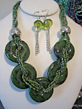 Green Donuts Shape Ceramic Circle Glass Seed Bead Necklace Earring Set