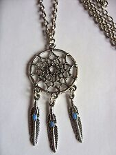 "A  Dream Catcher Feather Tassel Tibetan Silver Charm Long 30""  Chain Necklace"