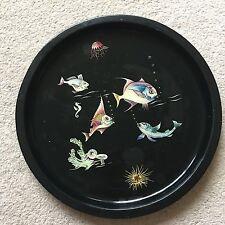 Vintage mid century 1960s black enamel fish round serving bar cocktail tray 32cm