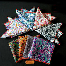 "U Pick 10"" Assorted European Paisley Print Men Pocket Square Cotton Handkerchief"