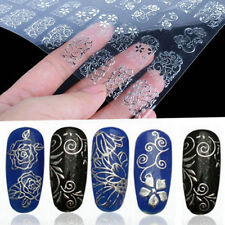 108Pcs 3D Silver Flower Nail Art Stickers Decals Stamping DIY Decoration ToolTSW