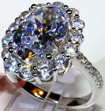 Cubic Zirconia Ring in Platinum Overlay Sterling Silver (Size 7) TGW 14.72 cts