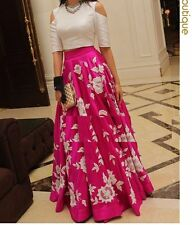Women Casual Dress New Fashion Party Wear Pink Faux Georgette Skirt Top Dress