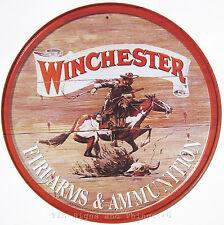 Winchester Cowboy ROUND Metal TIN SIGN vintage horse gun western wall decor 975