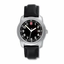 NEW  Men's Swiss Army Field Watch with Black Dial and Leather Strap - 26010.CH