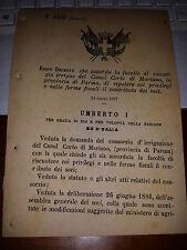 REGIO DECRETO 1887 CONSORZIO IRRIGUO CANAL CORTO di MARIANO PARMA PRIVILEGI FISC