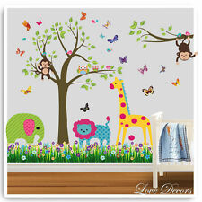 Animal Owl Wall Stickers Monkey Giraffe Zoo Jungle Tree Nursery Baby Room Decals