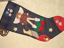 CHRISTMAS STOCKING STUFFER FABRIC 3D WITH BUTTONS COUNTRY STYLE