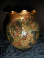 HOMEMADE? GLASS VASE UNBRANDED GOLD WITH VINTAGE PICTURES BEEN IN STORAGE EUC