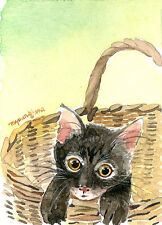 ACEO ORIGINAL WATERCOLOR- Cat N' basket, Gift for animal lovers, Home deco idea