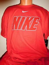 """NIKE """"DELUXE STATEMENT BLOCK"""" ATHLETIC TRAINING FITNESS GYM  T-SHIRT RED 2XL XXL"""