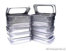 10 X MINI SILVER HINGED TIN WITH WINDOW IDEAL FOR SEWING KITS/TINDER/BREW KIT
