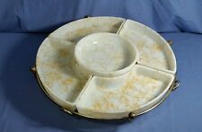 Vintage Hazel Atlas Orange Drizzle Milk Glass Serving Lazy Susan 6 pc Set Retro