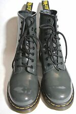 Dr Martin Patent Gray Air Wair Size 8 M Leather Boots women's