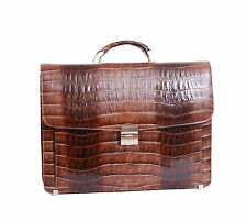 Mens leather briefcase combination lock Luxury crocodile work office TAN bag