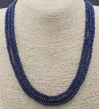 3 Rows 2X4mm NATURAL FACETED DARK BLUE SAPPHIRE GEMS BEADS NECKLACES