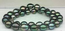 "Huge 18"" 13-14mm natural tahitian black green baroque pearl necklace"
