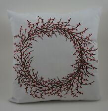 """Christmas Embroidered Pillow Cover - Berry Wreath - 18"""" x 18"""" - White"""