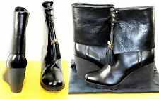 €650 FENDI Stivale Vitello 8 38.5 Black LEATHER Ankle Boots Shoes Women Lady NIB