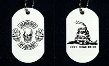 """2nd Amendment Skull Don't Tread On Me Snake 2 Side Dog Tag Necklace 30"""" Chain"""