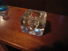Antique Clear Cut Glass Inkwell! Faceted Art Deco Large Ink Well