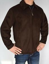 New Mens Perry Ellis Portfolio Brown Suede Jacket Coat Sherpa Lining Size Medium