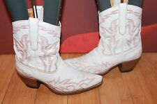 White real leather pull on Kate Kuba designer western cowboy boots 5 38  B10