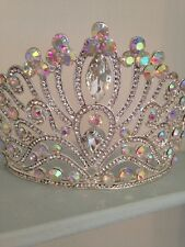 10 cms High ARGENTO DIADEMA CORONA. AB Crystal. Pageant CROWN / nozze / STADIO Prop