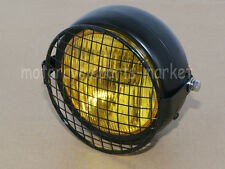 Grill Retro Amber Vintage Motorcycle Side Mount Headlight Cafe Racer Bobber New