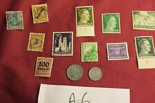 "WW2 German Third Reich ""Hitler Stamps"" & Nazi Eagle Coins..(lot A6)"