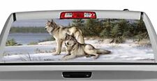 Truck Rear Window Decal Graphic [Wolves / Watchful Pause] 20x65in DC54902