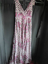 COMPTOIR des COTONNIERS Cotton Dress Purple Print Maxi Festival Boho Frock Sz 34