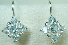 NEW STERLING GENUINE NATURAL AQUAMARINE CLUSTER PIERCED EARRINGS  PALE ICE BLUE
