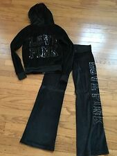 Victoria's Secret PINK Black Velour Track Suit Hoodie and Pants Bling EUC Sz. XS