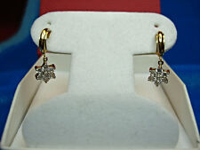 14KYELLOW  GOLD DANGLE EARRINGS WITH SPARKLING CZ's - HAVE A LOOK