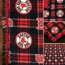 "Boston Red Sox Blanket - Handmade Fleece Tie Blanket - Red Socks 55""x65"""