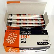 400 NEW LR44 MAXELL A76 L1154 AG13 357 SR44 303 BATTERY