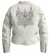 Harley Davidson Women's Wind Crest Perforated White Leather Jacket 97138-09VW L