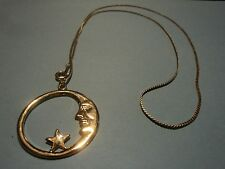 "necklace - gold tone 24"" delicate chain /moon star pendant !"