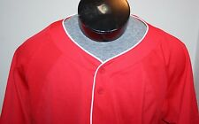 EUC UNDER ARMOUR Men's Baseball Shirt Jersey Red w White Piping Sz L