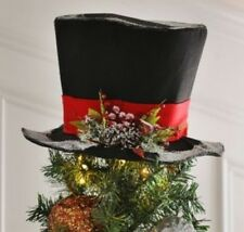Snowy Black Classic Snowman TopHat Felt Centerpiece Tree Topper Christmas Hat