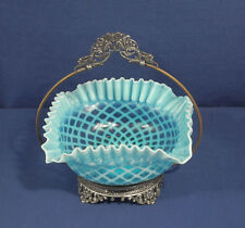 Vtg Antique Mt Washington Brides Basket Art Glass Blue Quilted Opalescent Fenton
