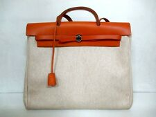 Authentic HERMES Ivory Brown Her Bag MM Toile H Box Calf Handbag w/ Strap