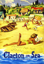 Back to the Sun at Clacton on Sea and Holland on Sea Railway Travel Post Print