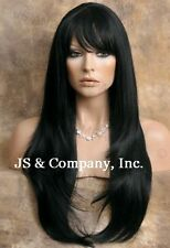 Human Hair Blend Wig Long Straight Face Frame Off Black Heat safe WTO 1B