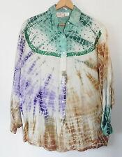 High Advantage Button Down Shirt Batik Multi-Color Sequin Trim Size 3X