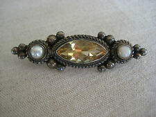 VINTAGE ANTIQUE STERLING SILVER CITRINE PEARL PIN BROOCH HAND MADE